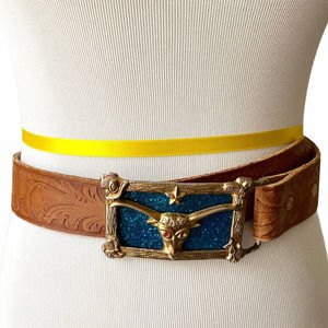 Bull Buckle Tooled Leather Belt Brown Changeable
